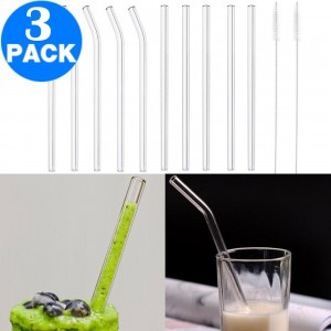 36Pcs Clear Glass Straw Set