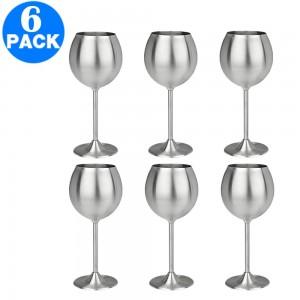 6 X Stainless Steel Stemmed Wine Glasses