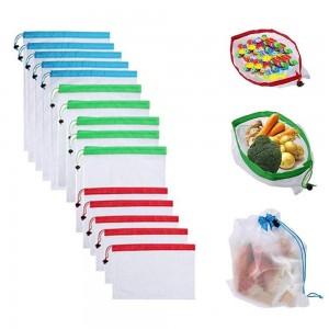 15Pcs Reusable Grocery Fruit Vegetable Mesh Shopping Bags