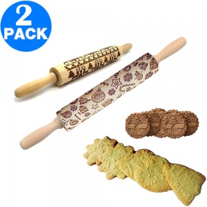 2 X Christmas Embossed Rolling Pins 35cm Style 1 and 43cm Style Style 1