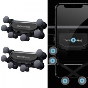 2 X Car Phone Holder Air Vent Mount Phone Stand Soft Phone Holder Non-Slip Automatic Grip Car Phone Stand Black