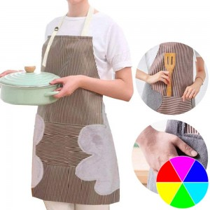 Adjustable Bib Apron with Pockets Side Towels Durable Pinstripe Cooking Apron