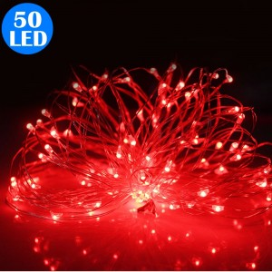 50LED Fairy Lights Battery Operated Copper Wire String Lights Remote Control