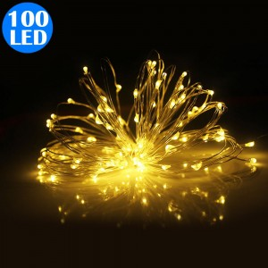 100LED Copper Wire String Lights Fairy Lights Battery Operated Remote Control