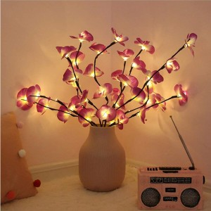 3Pcs Lighted Flowers Branch Artificial Phalaenopsis Decorative Lights