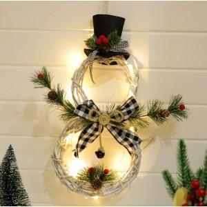 Christmas Snowman Artificial Wreath Pendant Led Light