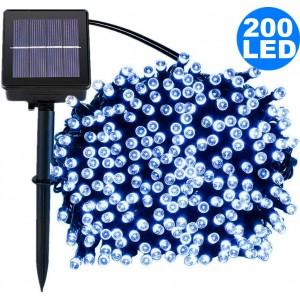 22M 200LED White 8 Mode Solar String Lights Waterproof Starry Fairy Light