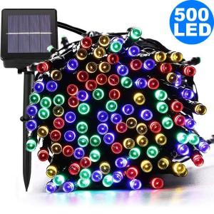 52M 500LED Multicolour 8 Mode Solar String Lights Waterproof Starry Fairy Light