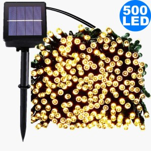 52M 500LED Warm White 8 Mode Solar String Lights Waterproof Starry Fairy Light