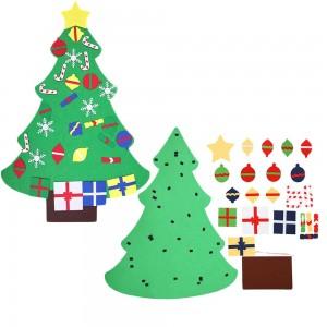 Wall Hanging DIY Felt Xmas Tree + 26Pc Detachable Ornaments Set Style 2