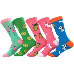 5 Pairs of Women Novelty Socks Fruit Printed Socks Set A