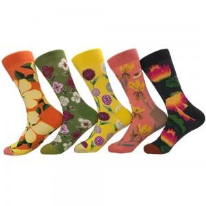 5 Pairs of Women Novelty Socks Fruit Printed Socks Set D