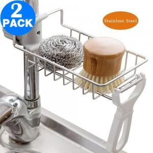 2 X Kitchen Stainless Steel Sink Faucet Storage Racks Sponge Holders Sink Caddy Organizers