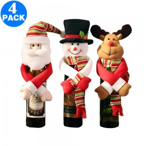 4 X Christmas Wine Bottle Covers Same Colour