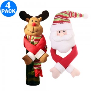 4 X Christmas Wine Bottle Covers Style 1 and Style 3