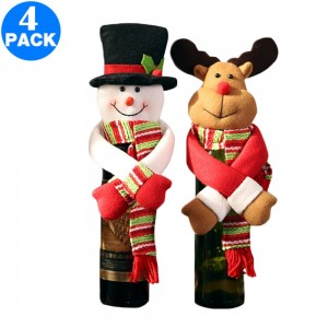 4 X Christmas Wine Bottle Covers Style 2 and Style 3