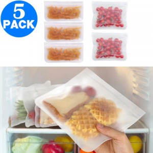 5 X Kitchen Reusable Food Storage Bags 3 Small 2 Medium