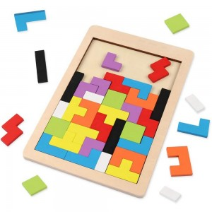 40PCS Kids Tetris Puzzle Brain Teasers Toy Colorful Jigsaw Blocks Game Toy