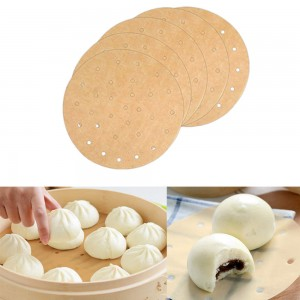 100 PCS Kitchen18CM Non-Stick Liners for Air Fryers-Circular-Khaki