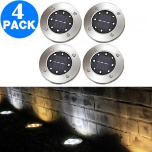 4pcs Garden LED Solar Power Ground Lights- White