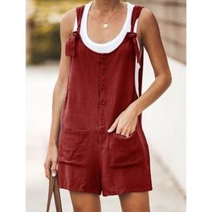 S Tie Strap Slant Pocket Women Jumpsuit-Wine red