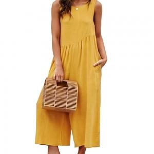 Women Sleeveless Jumpsuit Yellow