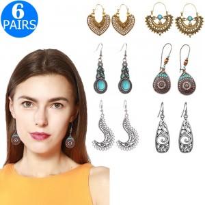 6 Pairs Bohemian National Style Earrings