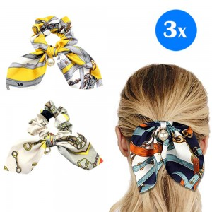 3pcs Hair Care Floral Bowknot Hair Scrunchy-Navy White and Yellow