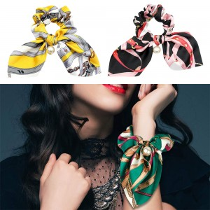 3pcs Hair Care Floral Bowknot Hair Scrunchy-Green Pink and Yellow
