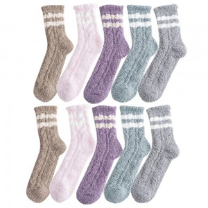 10 Pairs of Women Socks Striped Design Plush Slipper Socks Set C