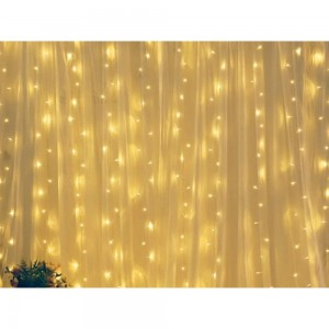 300 LEDs Bulb Curtain String Light with Remote Control Warm White