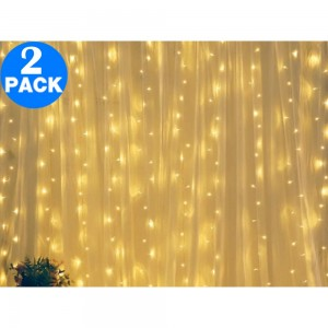 2 X 300 LEDs Bulb Curtain String Light with Remote Control Warm White
