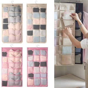 2 X Beige and Pink 30 Pockets Double Sided Wardrobe Storage Hanging Bags