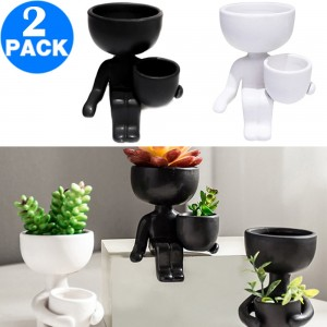 2 Pack Imitation Human Shaped Ceramic Flowerpot Home Decor Style 2 Black and Style 2 White