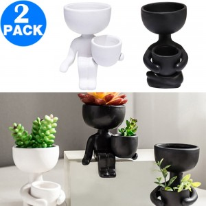 2 Pack Imitation Human Shaped Ceramic Flowerpot Home Decor Style 1 Black and Style 2 White