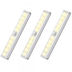 3 X Wireless 10 LED Closet Lights Bar Battery Powered Night Light Kitchen Lamp Warm White