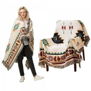 90x180cm Double Sides Boho Woven Throw Blanket for Couch Bed Beige