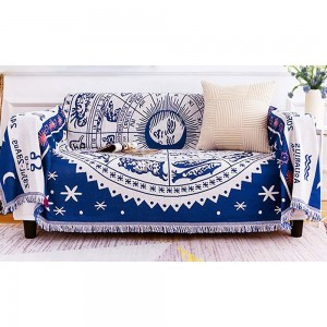130x180cm Double Sides Boho Woven Throw Blanket for Couch Bed Blue