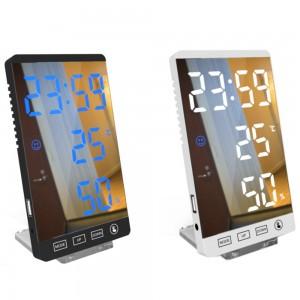 2 X USB LED Mirror Alarm Clock Home Decor Clock for Bedroom Kitchen Living Room White Blue