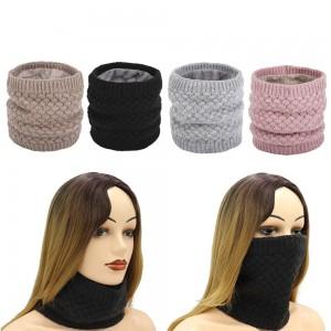 4 X Women Winter Neck Warmer Knitted Fleece-Lined Head Neck Warmer Set C