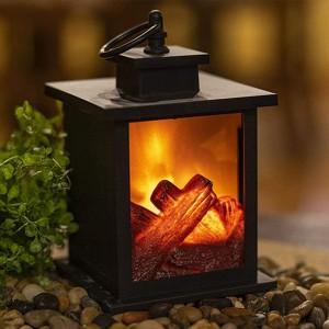 Small Lamp Home Decor Flameless Fireplace Lantern Night Light