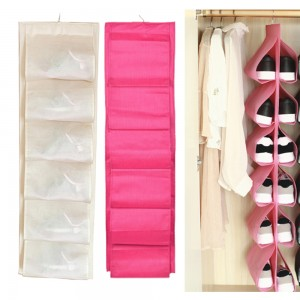 2 Pack Pink Beige 12 Pockets Double-Side Shoes Hanging Bags Closet Wardrobes Storage Bags