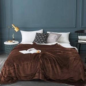 100x120cm Coffee Blanket Reversible Flannel Fleece Throw Blanket Winter Warm Blanket Home Decor for Bedroom
