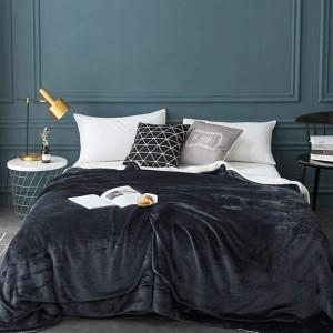 180x200cm Dark Grey Blanket Reversible Flannel Fleece Throw Blanket Winter Warm Blanket Home Decor for Bedroom