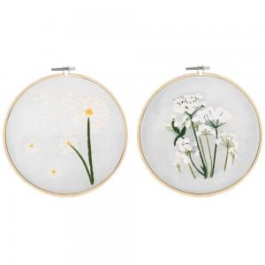 2X Style 2+3 DIY Plants Pattern Transparent Embroidery Kit Beginner Craft Set