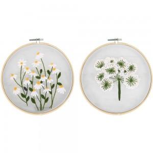 2X Style 1+4 DIY Plants Pattern Transparent Embroidery Kit Beginner Craft Set
