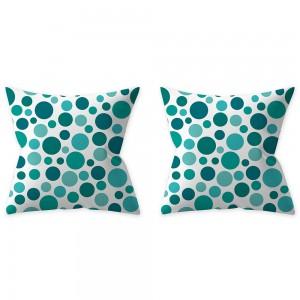 2Pcs Style 3 Aqua Turquoise Blue Cushion Covers Pillow Cases Home Decoration