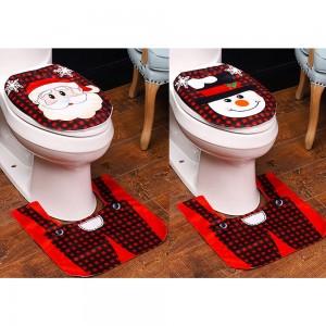 Style 1 Style 2 Christmas Toilet Decoration Xmas Toilet Seat Cover Toilet Rug