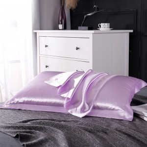 2 Pairs of Silky Satin Pillowcases Soft Breathable Pillowcase Pillow Cover PILLW IS NOT INCLUDED Purple