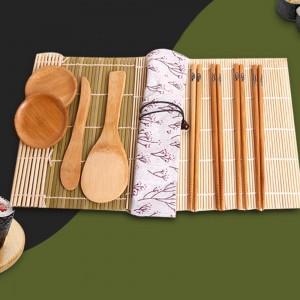 1 Set of DIY Sushi Making Tool Set with Package Bag Practical Sushi Roll Curtain Chopsticks Spatula Sauce Dish Sushi Knife Set
